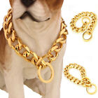 13mm Silver Gold Chain Dog Necklace Pet Collar Curb Link 316L Stainless Steel US