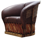 Plush Cushioned Lounge Chair Handmade Leather Woven Outdoor Barrel Rustic Seat