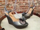 CIRCA Joan & David Silver Leather Bow Wedge Roderick Sandals NEW