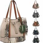 New Women's Fashion Snake Fringe Shopper Bag Large Hand Bag PU Leather
