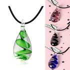 Murano Glass Tear Drop Spiral Flower Inlaid Pendant Ribbon Necklace Jewelry Gift