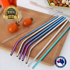 Stainless Steel Metal Drinking Straws Straight/Bent Reusable Washable + Brushes