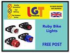 Ruby Bike Cycle Tail Rear Front Red White LED Lamp Flash Light Safety Warning 7D