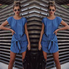 Summer Womens Fashion Short Sleeve Jeans Dress Casual Denim Mini Dresses Blouse
