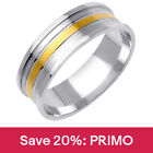 two tone wedding bands - 14K Two-tone Gold Matte Center Groove Modern Wedding Band (7mm)