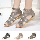 Sexy Women's Roman Rhinestone Ankle Strap Sandals Low Heel Flat Shoes Party