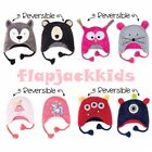 Flapjackkids Reversible Baby Kids Winter Hats UPF 50+ 2 in 1 Embroidery Beanies