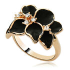 Fashion Women Flower Crystal Gold Plated Lady Nickel-Free Cute Ring Size 7 SM
