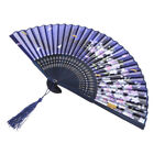 Chinese Japanese Flower Silk Foldable Hand Held Fan Dance Party Wedding Prom