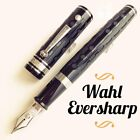 Wahl Eversharp Decoband Engine Tured Black Super Flex Silver Trim Fountain Pen