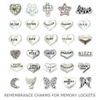 Remembrance Charms Living Memory Locket Necklace Costume Jewellery Funeral Loved
