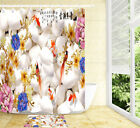 Chinese Style Blossom Bird White Stone Shower Curtain Set Polyester Fabric Hooks