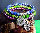 Jasper set bracelet blue, green and purple w/ silver tree of life, evil eye & OM