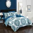 Twin Full Queen King Bed Blue White Circle Medallion 8 pc Comforter Set Bedding