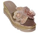 Wanted Women's Spray Flower Embellished Open Toe Platform Wedge Sandal