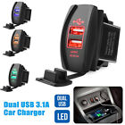 12V Car Charger 3.1A Quick Charge LED Dual USB Port Cigarette Lighter Adapter