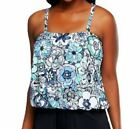 $121~Fit 4 U Tummy Al Fresco Blouson Tankini Swim TOP ONLY~A231125