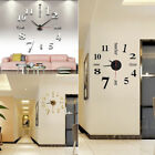 DIY Wall Clock Sticker Modern Analog 3D Mirror Surface Large Number Home Decor