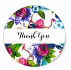 Thank You Envelope Seals Stickers Pink Blue Flowers Bright 1.2 In Round