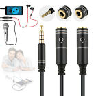 3.5mm Audio Male to 2 Female Mic Y Splitter Cable Aux Stereo Headset Earphone