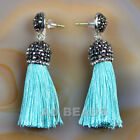 Fashion Charm Crystal Silk Tassel Rhinestone Cap Fringe Dangle Earrings