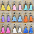 Fashion Charm Crystal Silk Tassel Rhinestone Cap Fringe Dangle Earrings image