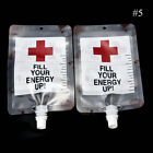 2PCS Reusable Cups Blood Bag Energy Drink Halloween Pouch Props Vampire Cosplay