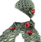 FAB HIPPIE CROCHET FLOWER HAT & SCARF -  BOHEMIAN BEANIE BOHO WINTER SCARF NEW