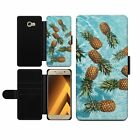 Floating Pineapples Fruits Food Flip Wallet Phone Case with Card Slots