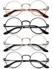 Classic Reading Glasses Aviator Retro Round Spring Hindge Stainless Steel Frame