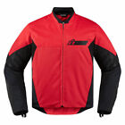 Icon Mens Red/Black Textile Konflict Motorcycle Jacket