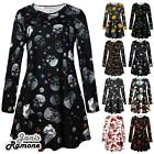 New Womens Witch Skull Moon Cat Halloween Flared Mini Swing Dress Plus Size