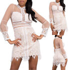 WOMENS SHEER LONG SLEEVE DRESS Lace Mesh Bodycon Casual Formal White Black S M L
