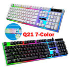 104 Keys USB Wired Mechanical Gaming Keyboard 7-Color Backlit Waterproof For PC