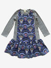 Anthem of the Ants Girls Cotton Jersey Dress Blue Gray Print 3/4 Sleeves NWT