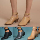 Women PU Chunky Heel Ankle Boots Casual Comfortable Zip Shoes Breathable Shoes