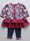 Fore N Birdie Baby Dress & Leggings Two Piece Set Navy Floral Sizes 6M-24M NWT