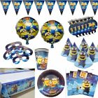 MINIONS BIRTHDAY PARTY DECORATIONS TABLE COVER BALLOONS HATS PLATES BUNTINGS