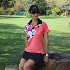 BNWT, Short Sleeve Golf Shirt in Coral with Diva Print Trim, FREE SHIPPING!