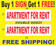 "APARTMENT FOR RENT Red & White 6""x24"" 2 Sided REAL ESTATE RIDER SIGNS Get 1 FREE photo"