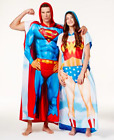 NWT Superman & Wonder Woman Men Women Couple Costume Union Suit Pajamas Poncho