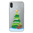 For iPhone XSMAX XR 6 7 8+X Christmas Pattern Soft TPU Clear Silicone Case Cover