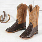 Old West Brown Caiman Print Boots