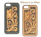 iPhone 6 or 6Plus Cover ~TOOLED LEATHER~ Protective Case Hardback Western Cowboy
