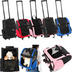 Portable Comfortable Pet Dog Cat Rolling Backpack Travel Carrier Trolley Bag