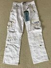 NWT Men's Attrak 500 White Embroidered Patch Zip Cargo Pocket Pants SIZES 30-36