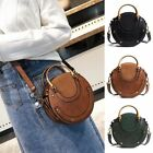Retro Women Leather Handbag Messenger Cross Body Shoulder Bag Purse Round Clutch