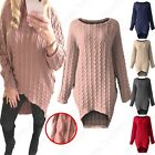 NEW LADIES OVERSIZED PLUS SIZE CABLE KNIT JUMPER DRESS WOMENS LONG BATWING TOP