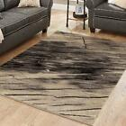 Abstract Black Charcoal Beige Area Rug Or Runner Waves Contemporary Carpet