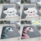 Childrens Animal Rug Small Large Round Nursery Carpet Kids Floor Baby Room Mats